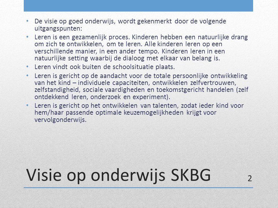Visie op onderwijs SKBG De visie op goed onderwijs, wordt gekenmerkt door de volgende uitgangspunten: Leren is een gezamenlijk proces. Kinderen hebben
