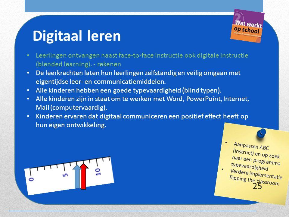 Digitaal leren Leerlingen ontvangen naast face-to-face instructie ook digitale instructie (blended learning). - rekenen De leerkrachten laten hun leer
