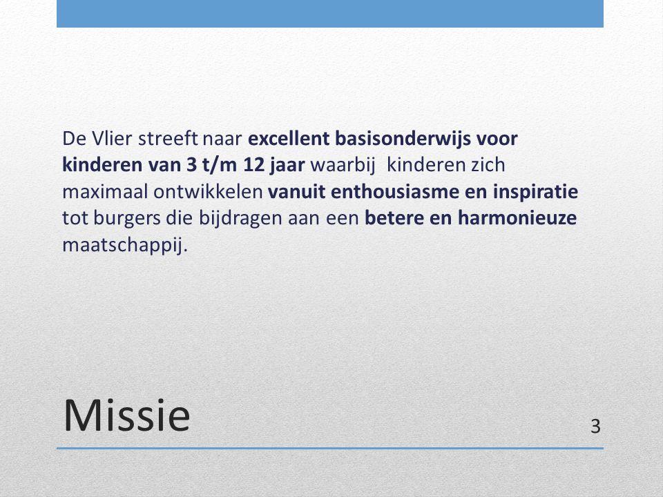 Missie De Vlier streeft naar excellent basisonderwijs voor kinderen van 3 t/m 12 jaar waarbij kinderen zich maximaal ontwikkelen vanuit enthousiasme e