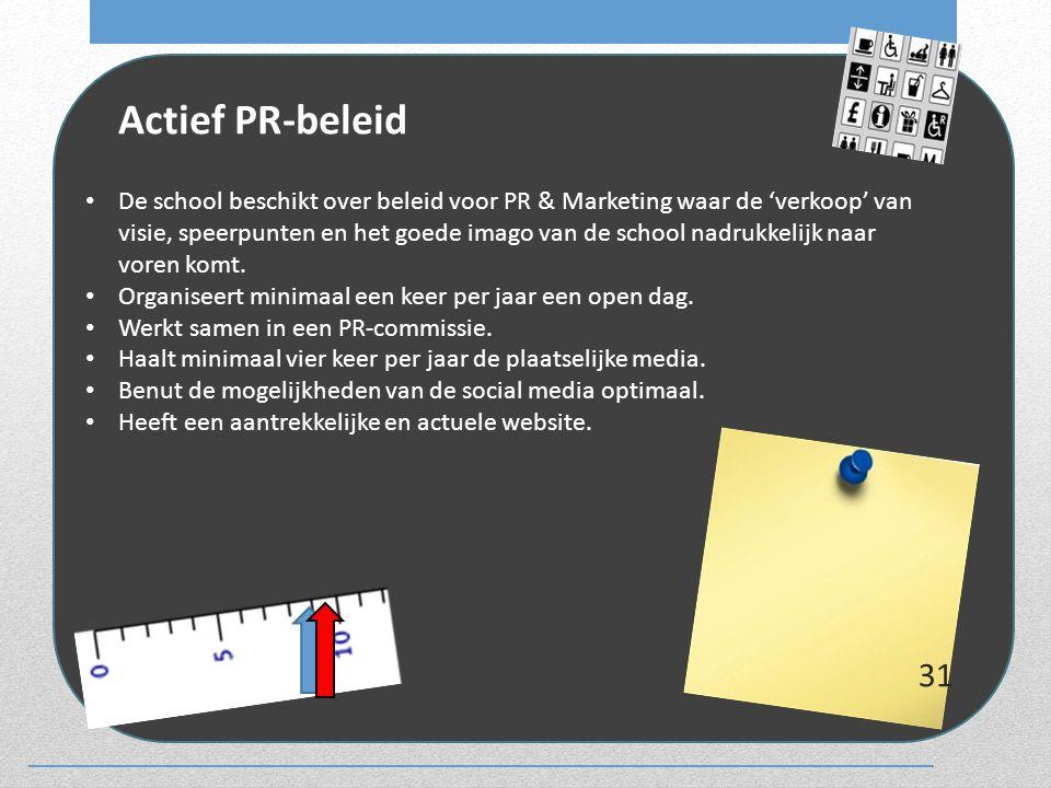 Actief PR-beleid De school beschikt over beleid voor PR & Marketing waar de 'verkoop' van visie, speerpunten en het goede imago van de school nadrukke