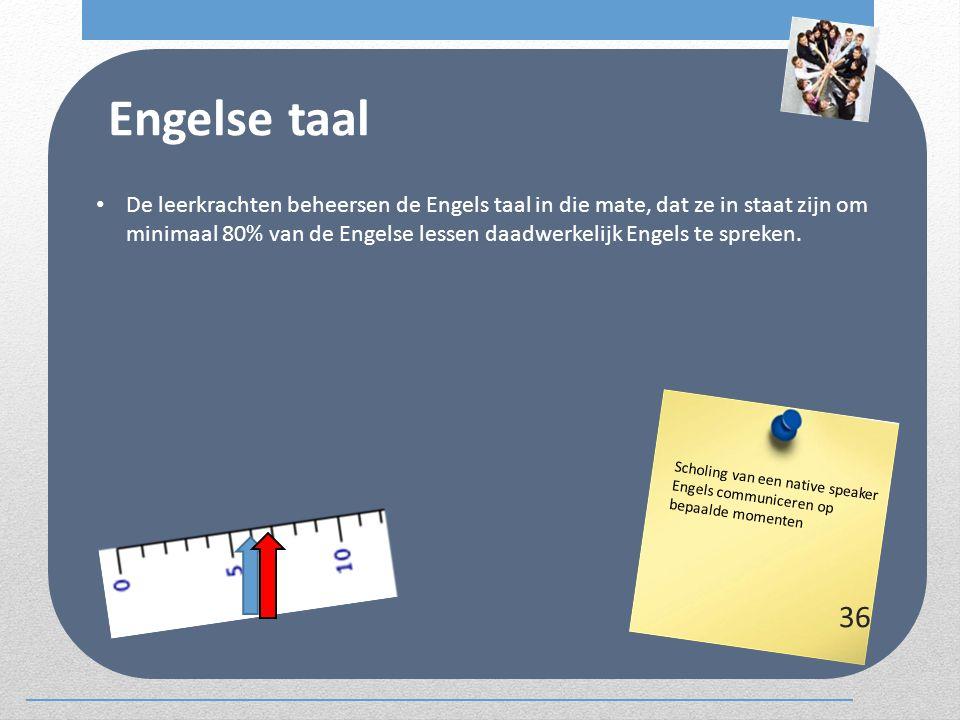 Engelse taal De leerkrachten beheersen de Engels taal in die mate, dat ze in staat zijn om minimaal 80% van de Engelse lessen daadwerkelijk Engels te