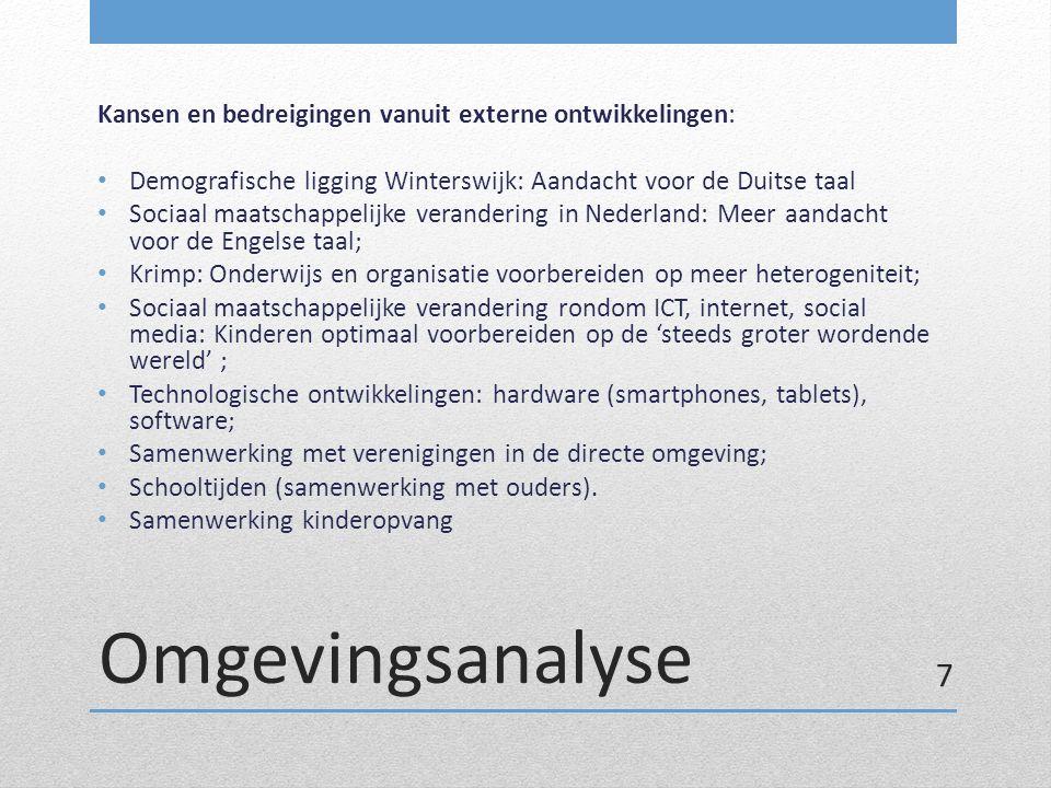 Omgevingsanalyse Kansen en bedreigingen vanuit externe ontwikkelingen: Demografische ligging Winterswijk: Aandacht voor de Duitse taal Sociaal maatsch