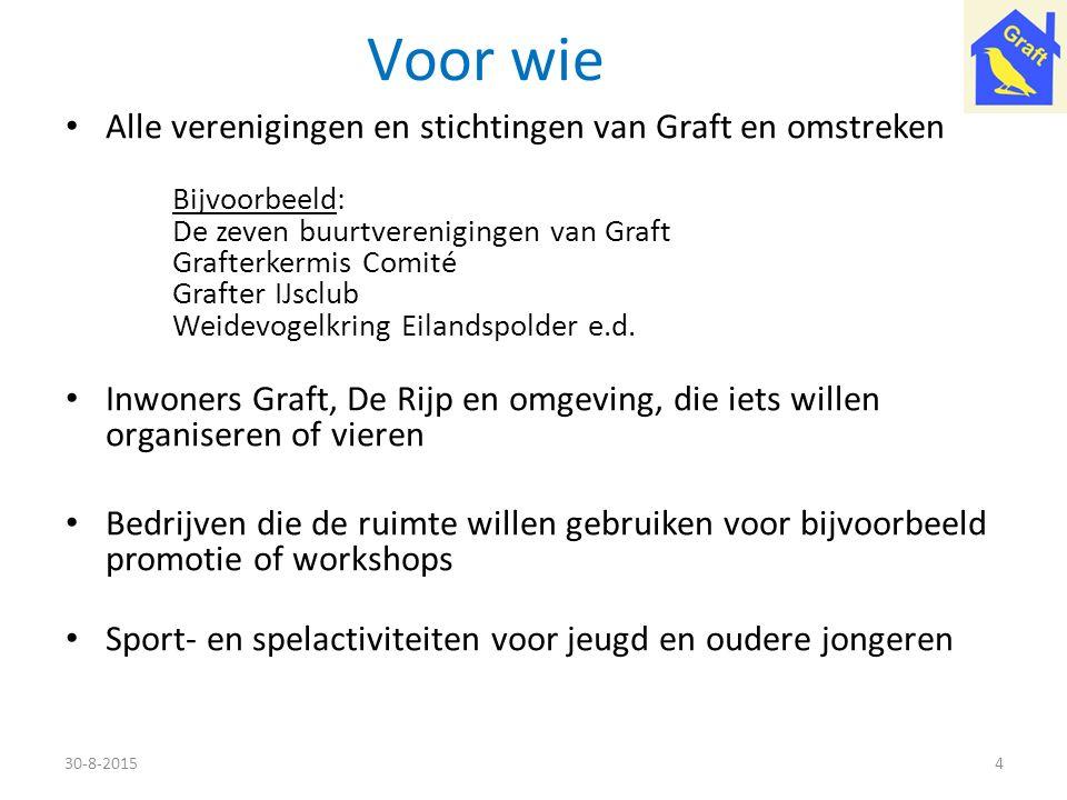 Voor wie Alle verenigingen en stichtingen van Graft en omstreken Bijvoorbeeld: De zeven buurtverenigingen van Graft Grafterkermis Comité Grafter IJscl