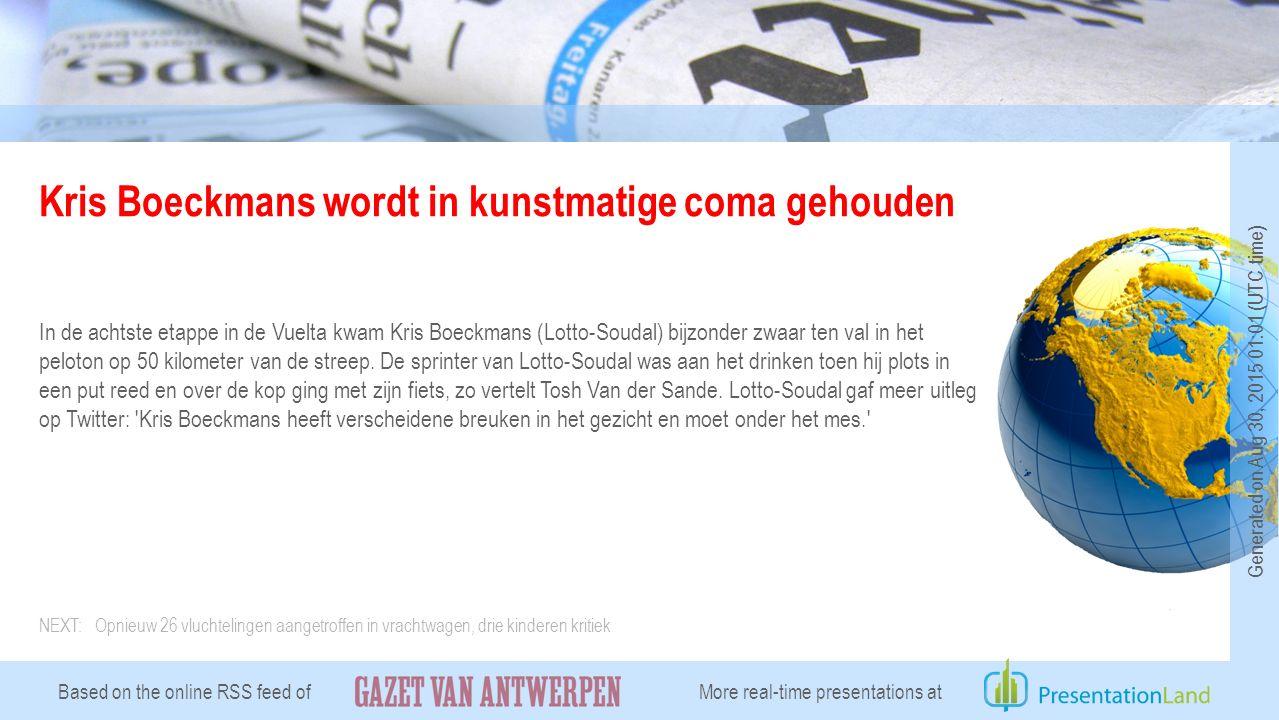 Kris Boeckmans wordt in kunstmatige coma gehouden In de achtste etappe in de Vuelta kwam Kris Boeckmans (Lotto-Soudal) bijzonder zwaar ten val in het peloton op 50 kilometer van de streep.
