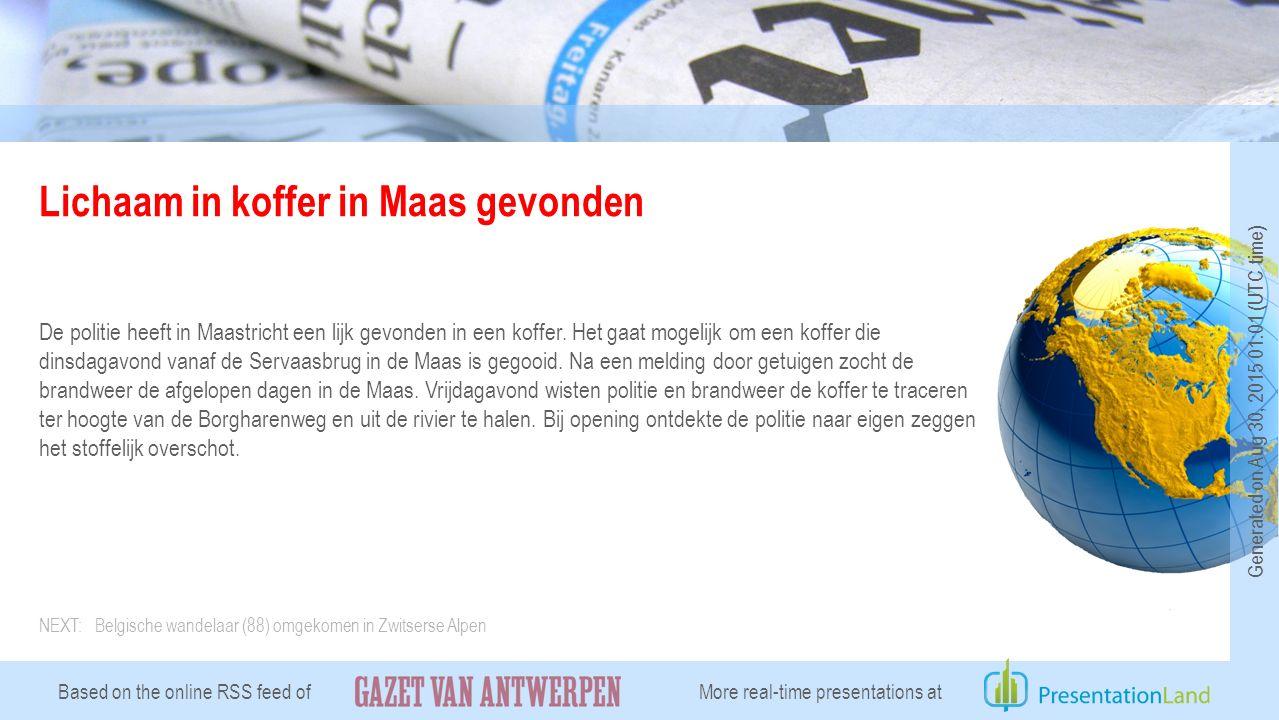 Lichaam in koffer in Maas gevonden De politie heeft in Maastricht een lijk gevonden in een koffer.