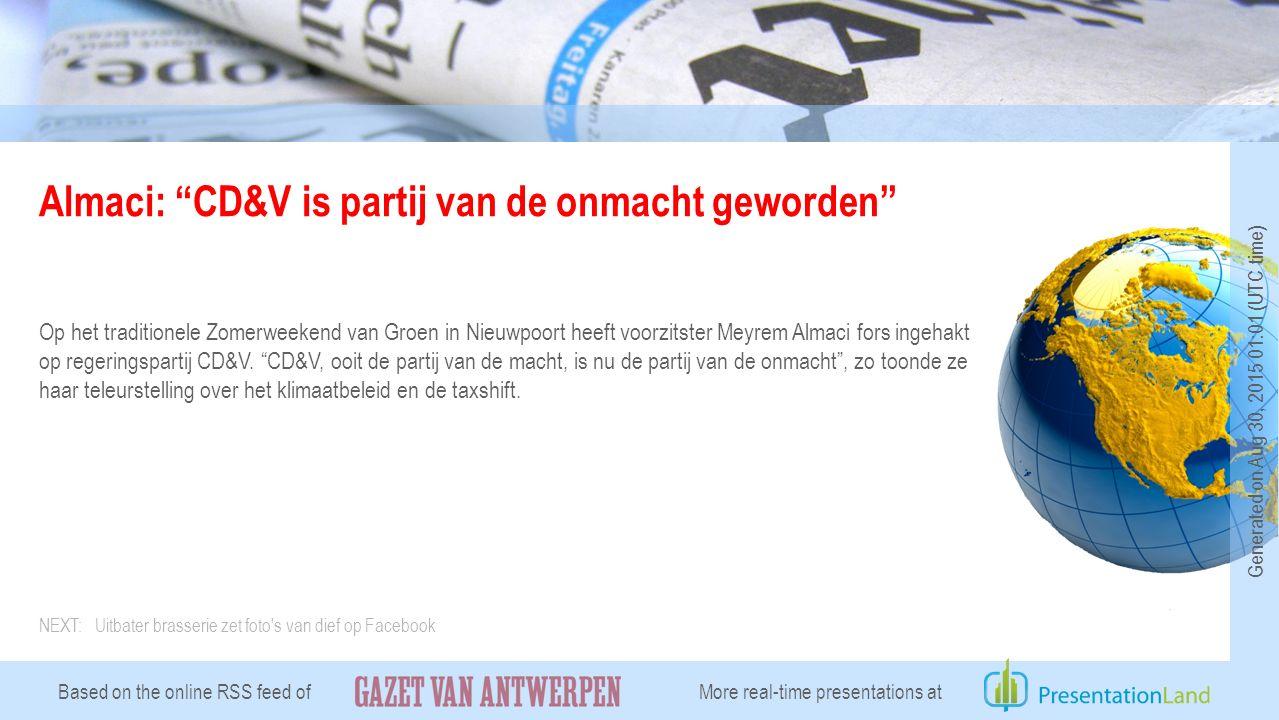 Almaci: CD&V is partij van de onmacht geworden Op het traditionele Zomerweekend van Groen in Nieuwpoort heeft voorzitster Meyrem Almaci fors ingehakt op regeringspartij CD&V.