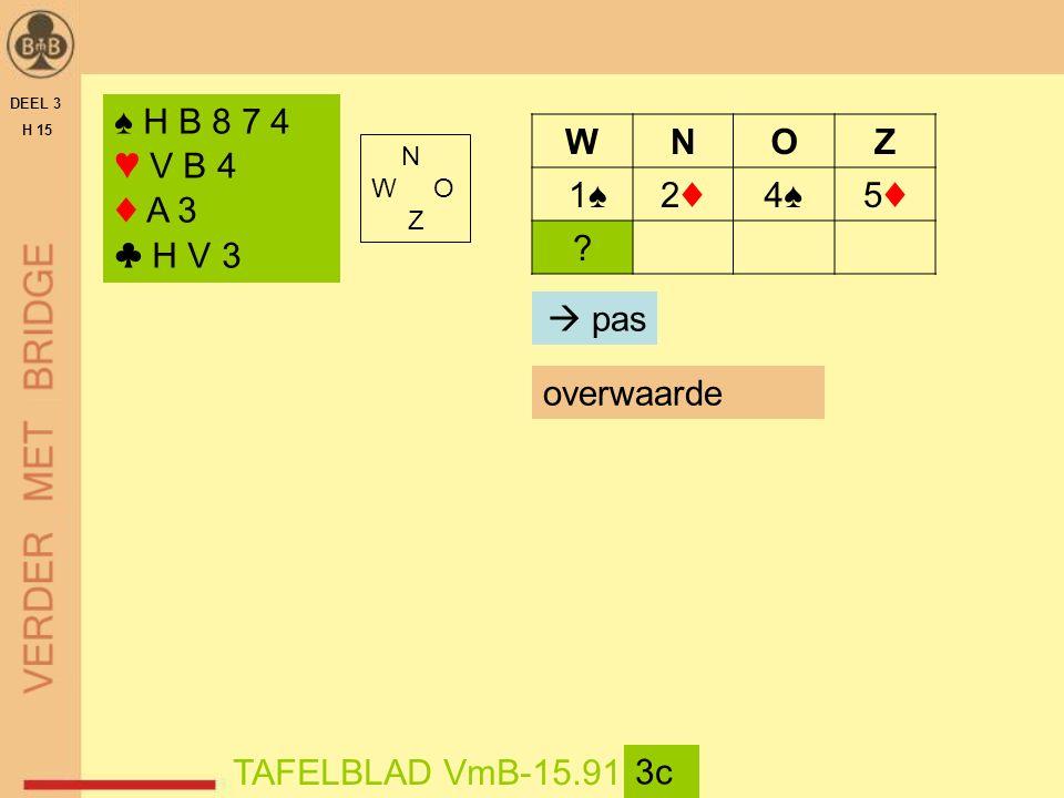 DEEL 3 H 15 N W O Z TAFELBLAD VmB-15.91 3c ♠ H B 8 7 4 ♥ V B 4 ♦ A 3 ♣ H V 3 WNOZ 1♠2♦2♦4♠4♠5♦5♦ ?  pas overwaarde