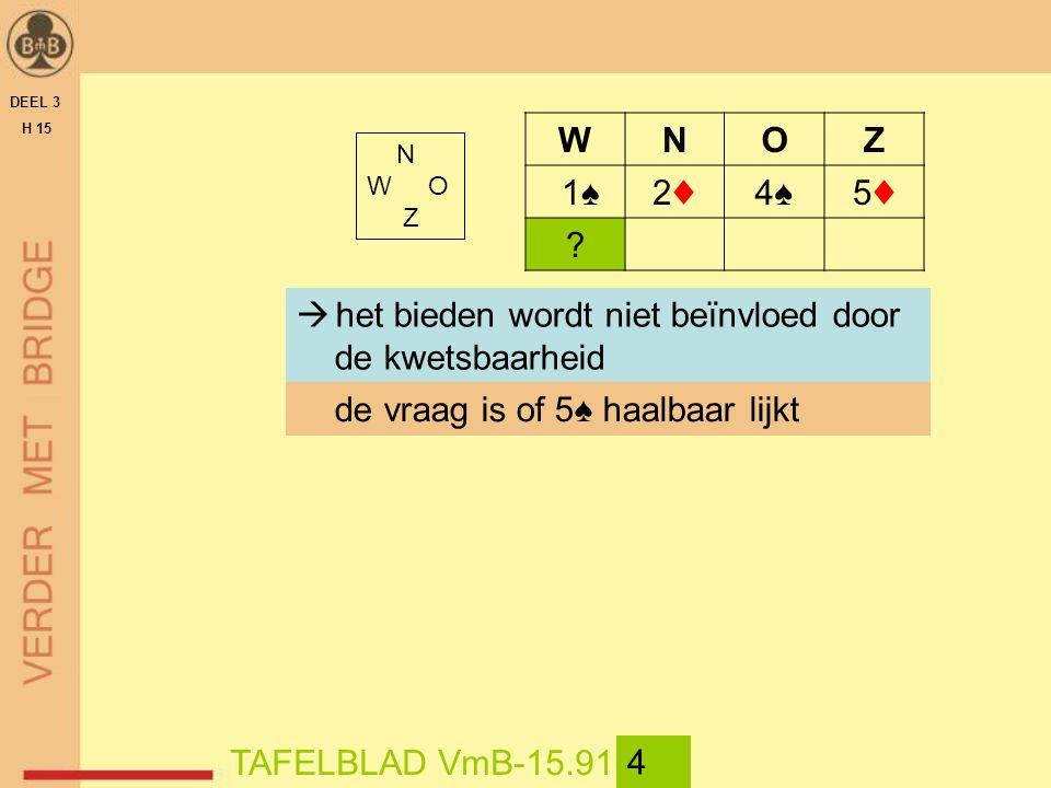 DEEL 3 H 15 N W O Z TAFELBLAD VmB-15.91 4 WNOZ 1♠2♦2♦4♠4♠5♦5♦ .