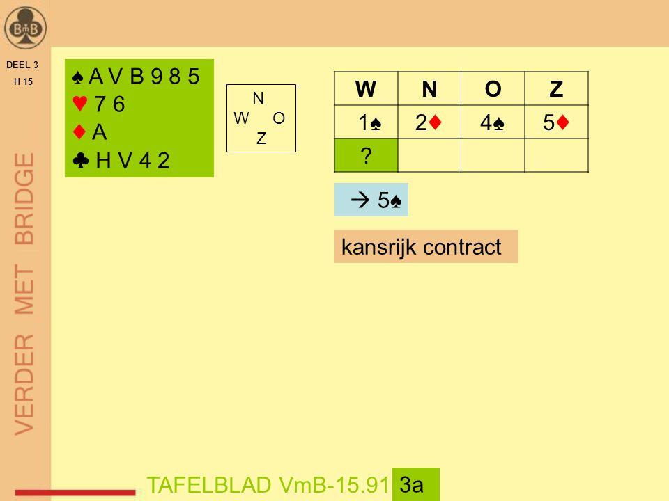 DEEL 3 H 15 N W O Z TAFELBLAD VmB-15.91 3b ♠ 9 8 7 6 2 ♥ A 4 3 ♦ A 5 ♣ H 9 7 WNOZ 1♠2♦2♦4♠4♠5♦5♦ .