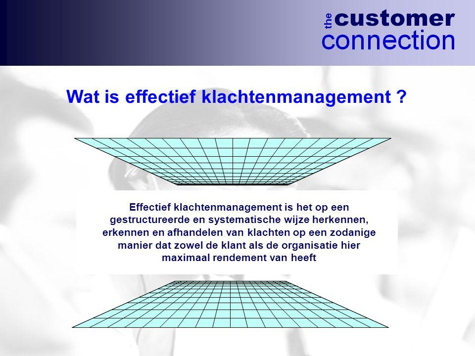 Effectief klachtenmanagement is het op een gestructureerde en systematische wijze herkennen, erkennen en afhandelen van klachten op een zodanige manie