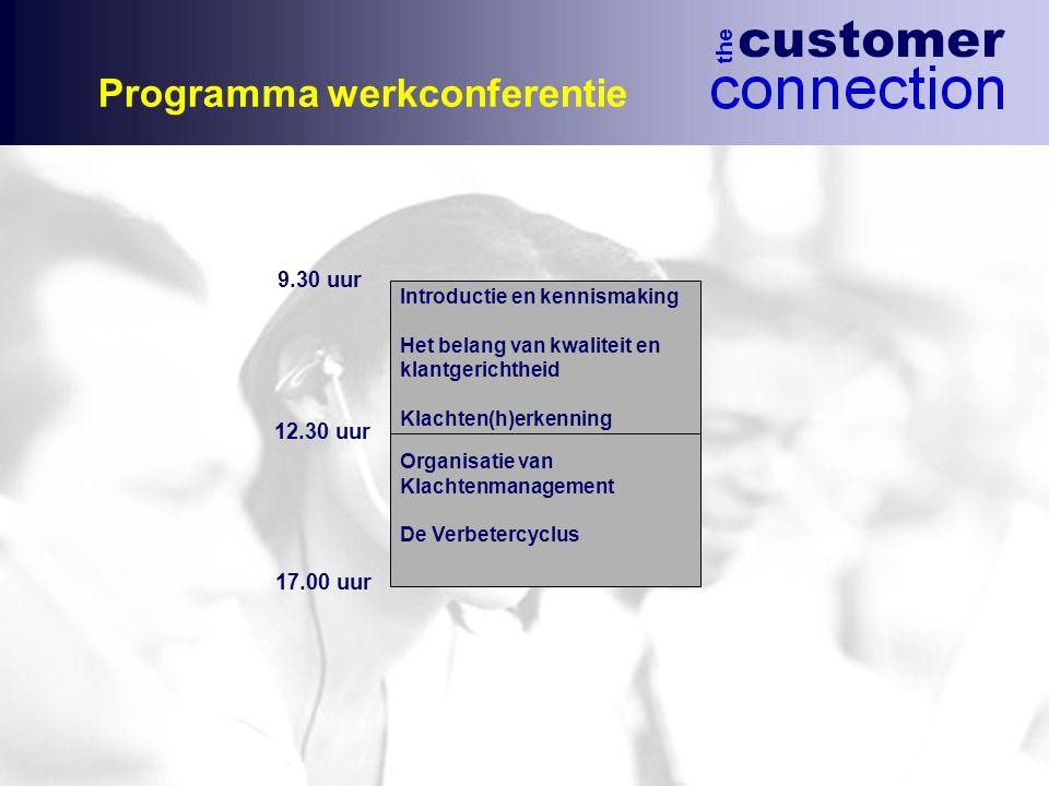 Programma werkconferentie Introductie en kennismaking Het belang van kwaliteit en klantgerichtheid Klachten(h)erkenning Organisatie van Klachtenmanage