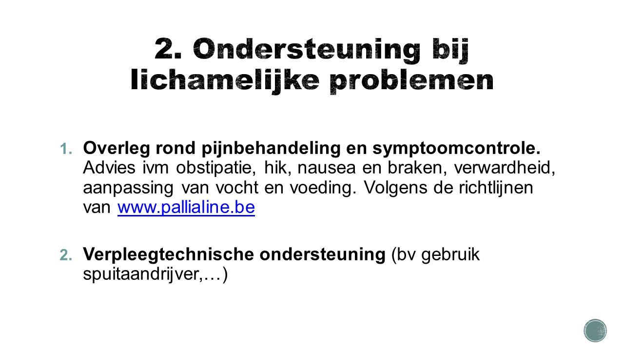 1. Overleg rond pijnbehandeling en symptoomcontrole.