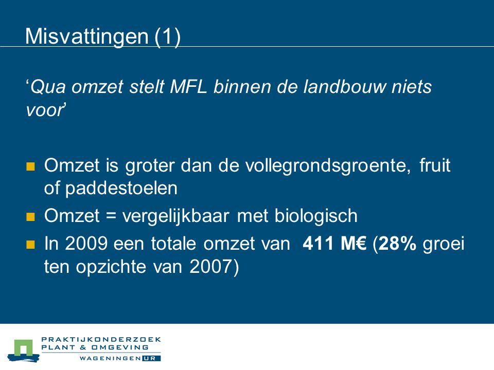 Misvattingen (2) 'De sector is marginaal' MFL komt voor op 13% van alle landbouwbedrijven Deze bedrijven beheren 19% van het totale areaal