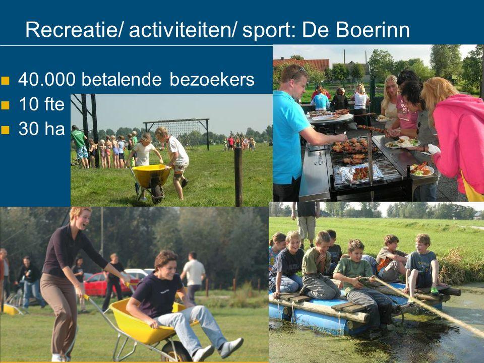 Recreatie/ activiteiten/ sport: De Boerinn 40.000 betalende bezoekers 10 fte 30 ha