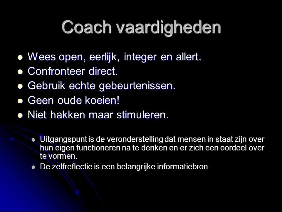 Coach vaardigheden Wees open, eerlijk, integer en allert.