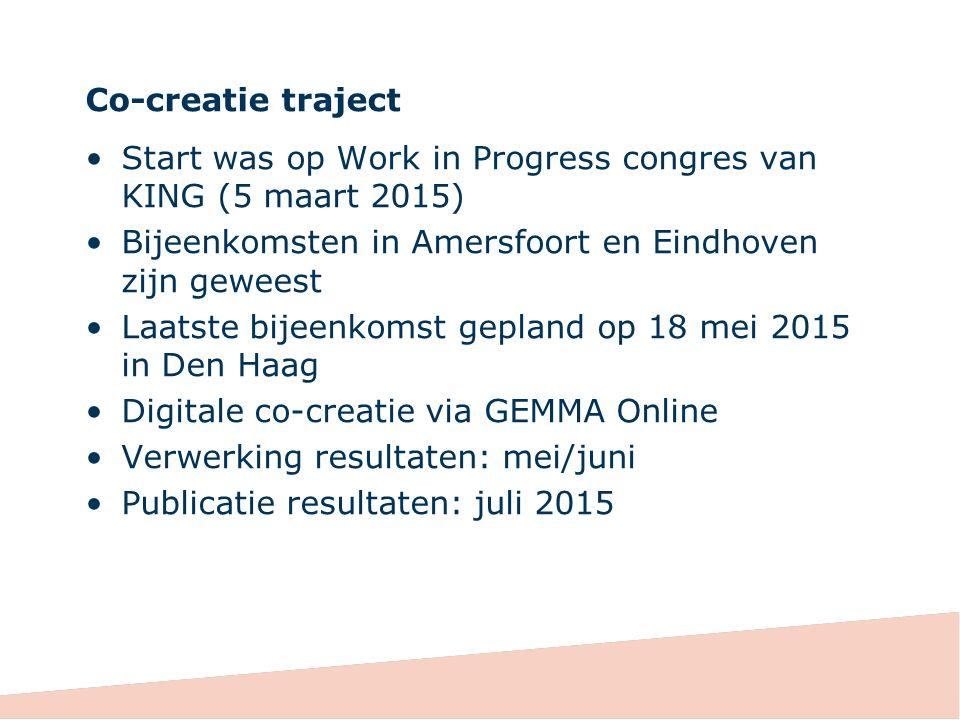 Co-creatie traject Start was op Work in Progress congres van KING (5 maart 2015) Bijeenkomsten in Amersfoort en Eindhoven zijn geweest Laatste bijeenk