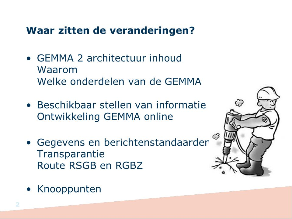 Co-creatie traject Start was op Work in Progress congres van KING (5 maart 2015) Bijeenkomsten in Amersfoort en Eindhoven zijn geweest Laatste bijeenkomst gepland op 18 mei 2015 in Den Haag Digitale co-creatie via GEMMA Online Verwerking resultaten: mei/juni Publicatie resultaten: juli 2015
