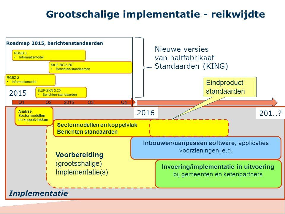 v Grootschalige implementatie - reikwijdte Nieuwe versies van halffabrikaat Standaarden (KING) 2015 2016 201..? Analyse Sectormodellen en koppelvlakke