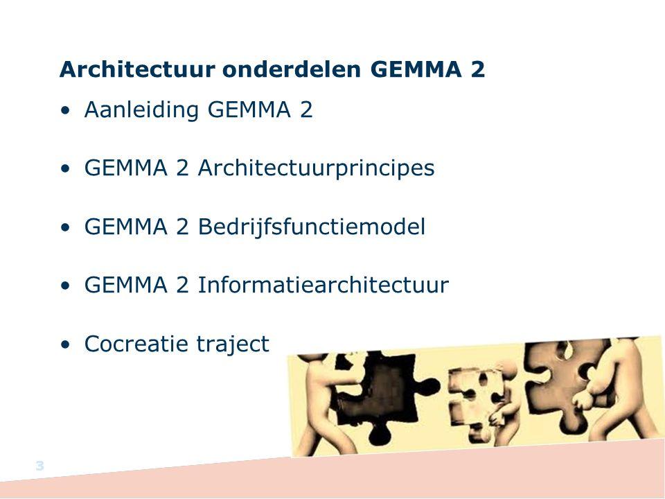 Architectuur onderdelen GEMMA 2 Aanleiding GEMMA 2 GEMMA 2 Architectuurprincipes GEMMA 2 Bedrijfsfunctiemodel GEMMA 2 Informatiearchitectuur Cocreatie