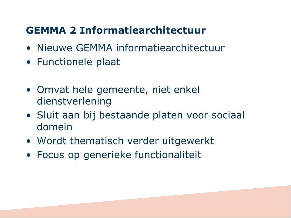GEMMA 2 Informatiearchitectuur Nieuwe GEMMA informatiearchitectuur Functionele plaat Omvat hele gemeente, niet enkel dienstverlening Sluit aan bij bes