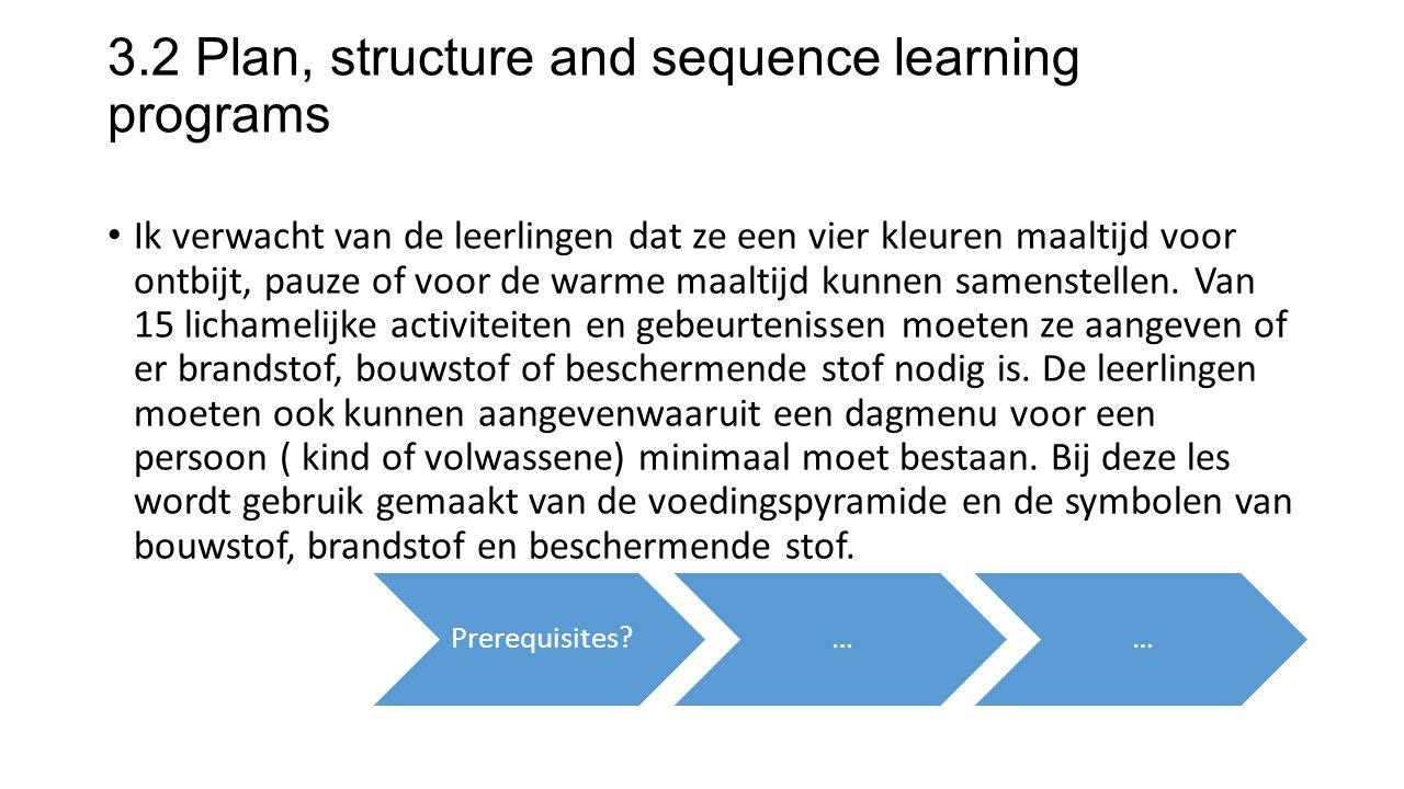 3.2 Plan, structure and sequence learning programs Ik verwacht van de leerlingen dat ze een vier kleuren maaltijd voor ontbijt, pauze of voor de warme maaltijd kunnen samenstellen.
