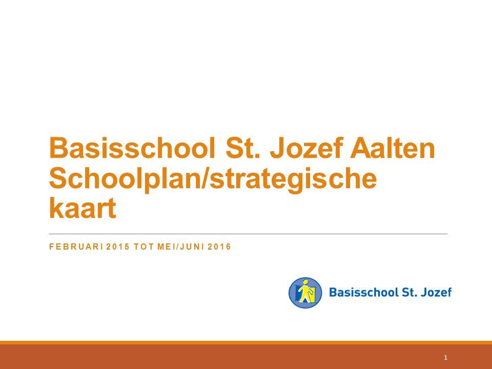 Basisschool St. Jozef Aalten Schoolplan/strategische kaart FEBRUARI 2015 TOT MEI/JUNI 2016 1