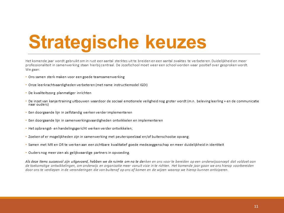 Strategische keuzes Het komende jaar wordt gebruikt om in rust een aantal sterktes uit te breiden en een aantal zwaktes te verbeteren. Duidelijkheid e