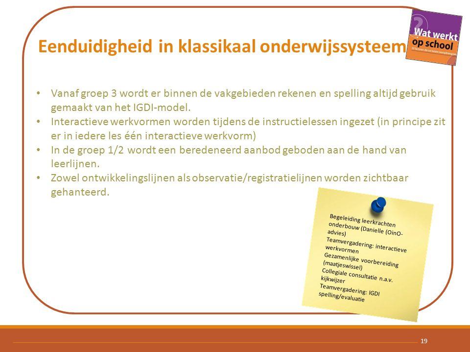 Eenduidigheid in klassikaal onderwijssysteem Vanaf groep 3 wordt er binnen de vakgebieden rekenen en spelling altijd gebruik gemaakt van het IGDI-model.