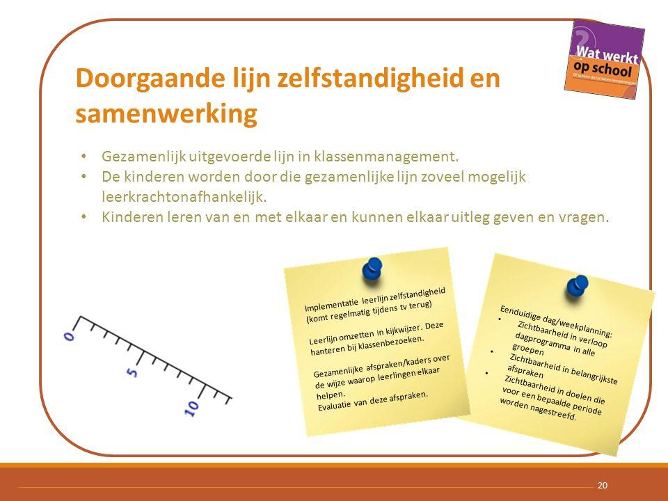 Doorgaande lijn zelfstandigheid en samenwerking 20 Gezamenlijk uitgevoerde lijn in klassenmanagement.
