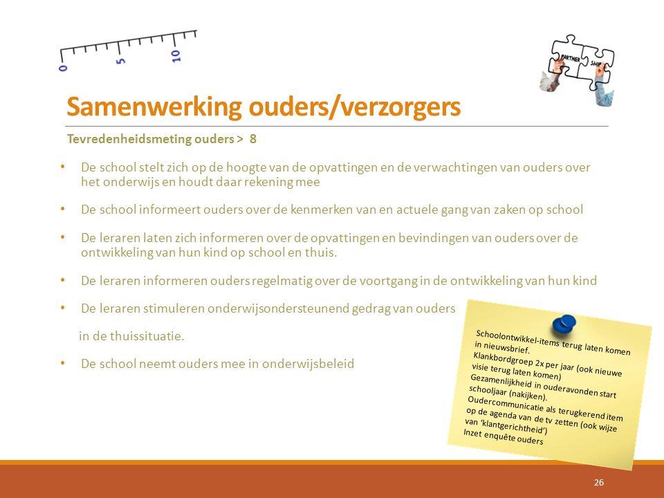 Samenwerking ouders/verzorgers 26 Tevredenheidsmeting ouders > 8 De school stelt zich op de hoogte van de opvattingen en de verwachtingen van ouders o