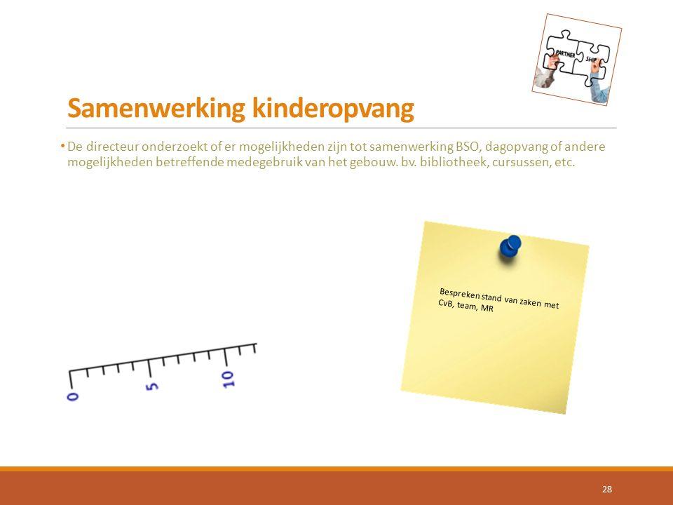 Samenwerking kinderopvang De directeur onderzoekt of er mogelijkheden zijn tot samenwerking BSO, dagopvang of andere mogelijkheden betreffende medegeb