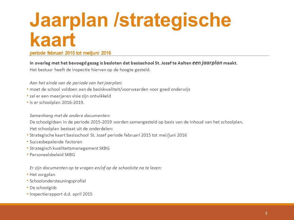 Jaarplan /strategische kaart periode februari 2015 tot mei/juni 2016 In overleg met het bevoegd gezag is besloten dat basisschool St. Jozef te Aalten