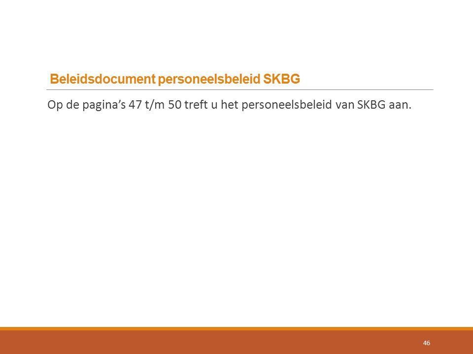 Beleidsdocument personeelsbeleid SKBG 46 Op de pagina's 47 t/m 50 treft u het personeelsbeleid van SKBG aan.