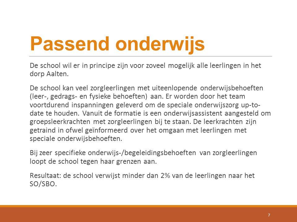 Passend onderwijs De school wil er in principe zijn voor zoveel mogelijk alle leerlingen in het dorp Aalten. De school kan veel zorgleerlingen met uit