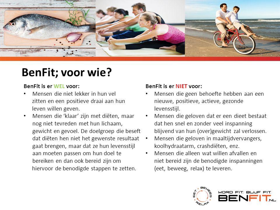 BenFit is er WEL voor: Mensen die niet lekker in hun vel zitten en een positieve draai aan hun leven willen geven. Mensen die 'klaar' zijn met diëten,