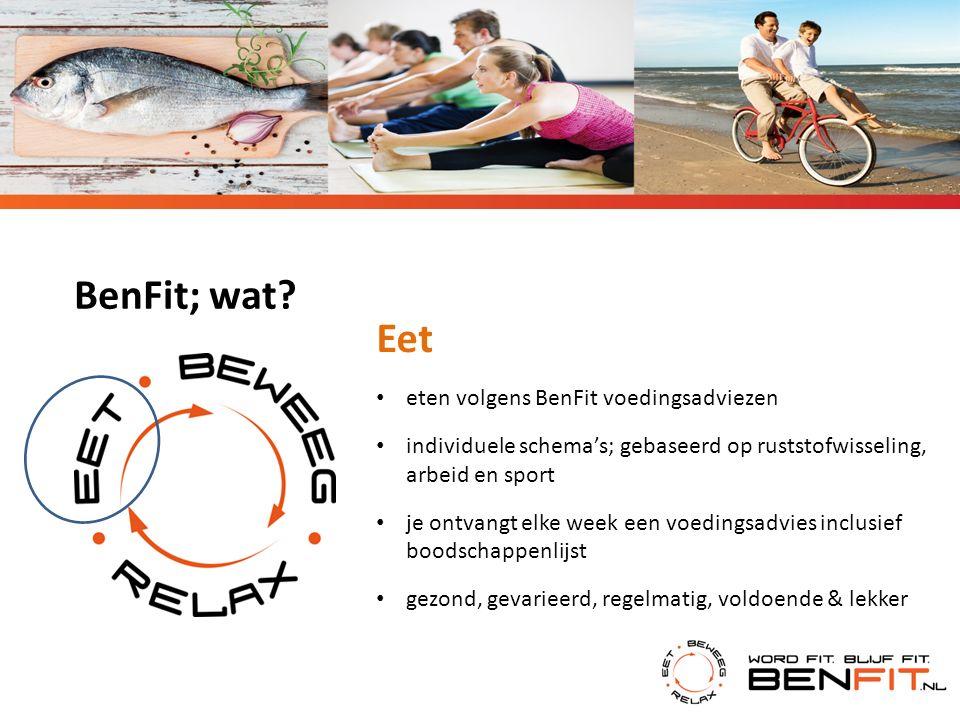 BenFit; wat? Eet eten volgens BenFit voedingsadviezen individuele schema's; gebaseerd op ruststofwisseling, arbeid en sport je ontvangt elke week een