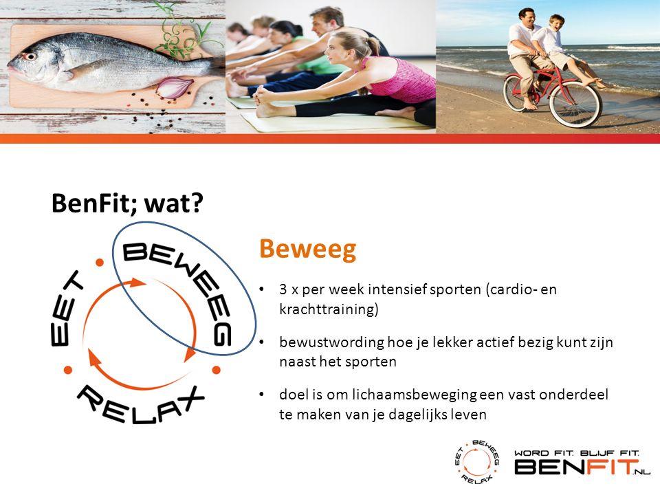 BenFit; wat? Beweeg 3 x per week intensief sporten (cardio- en krachttraining) bewustwording hoe je lekker actief bezig kunt zijn naast het sporten do