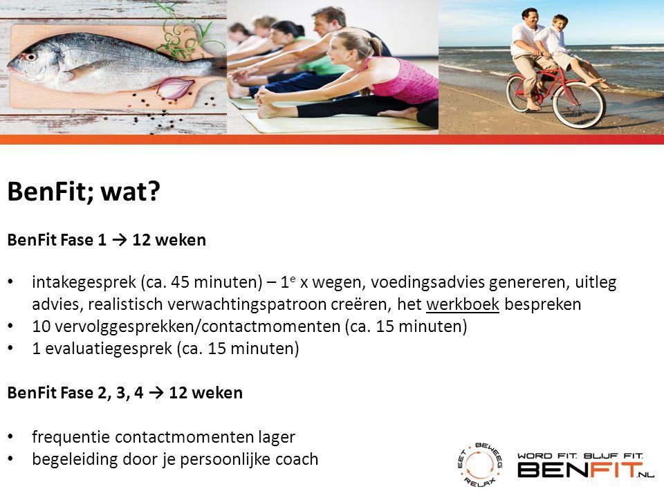 BenFit; wat? BenFit Fase 1 → 12 weken intakegesprek (ca. 45 minuten) – 1 e x wegen, voedingsadvies genereren, uitleg advies, realistisch verwachtingsp