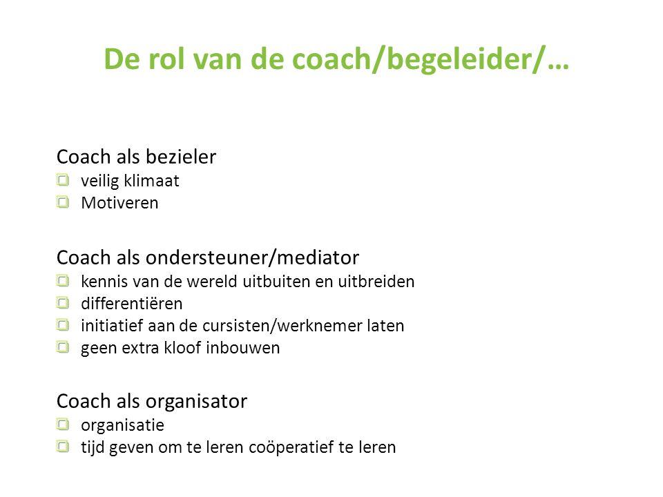 Coach als bezieler veilig klimaat Motiveren Coach als ondersteuner/mediator kennis van de wereld uitbuiten en uitbreiden differentiëren initiatief aan