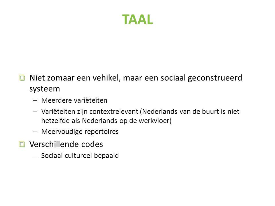 Niet zomaar een vehikel, maar een sociaal geconstrueerd systeem – Meerdere variëteiten – Variëteiten zijn contextrelevant (Nederlands van de buurt is