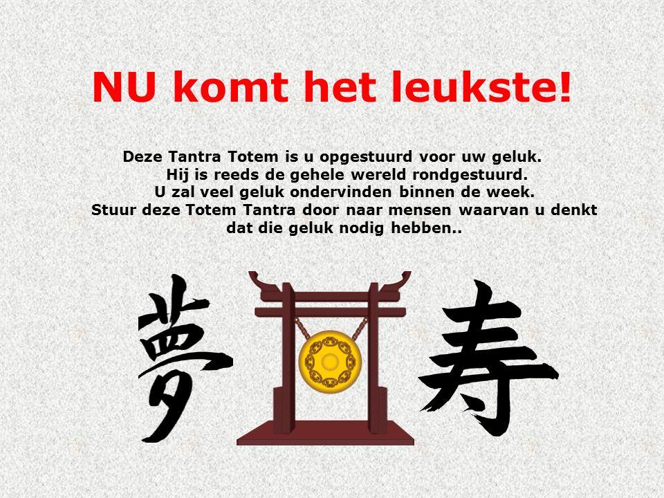 NU komt het leukste. Deze Tantra Totem is u opgestuurd voor uw geluk.