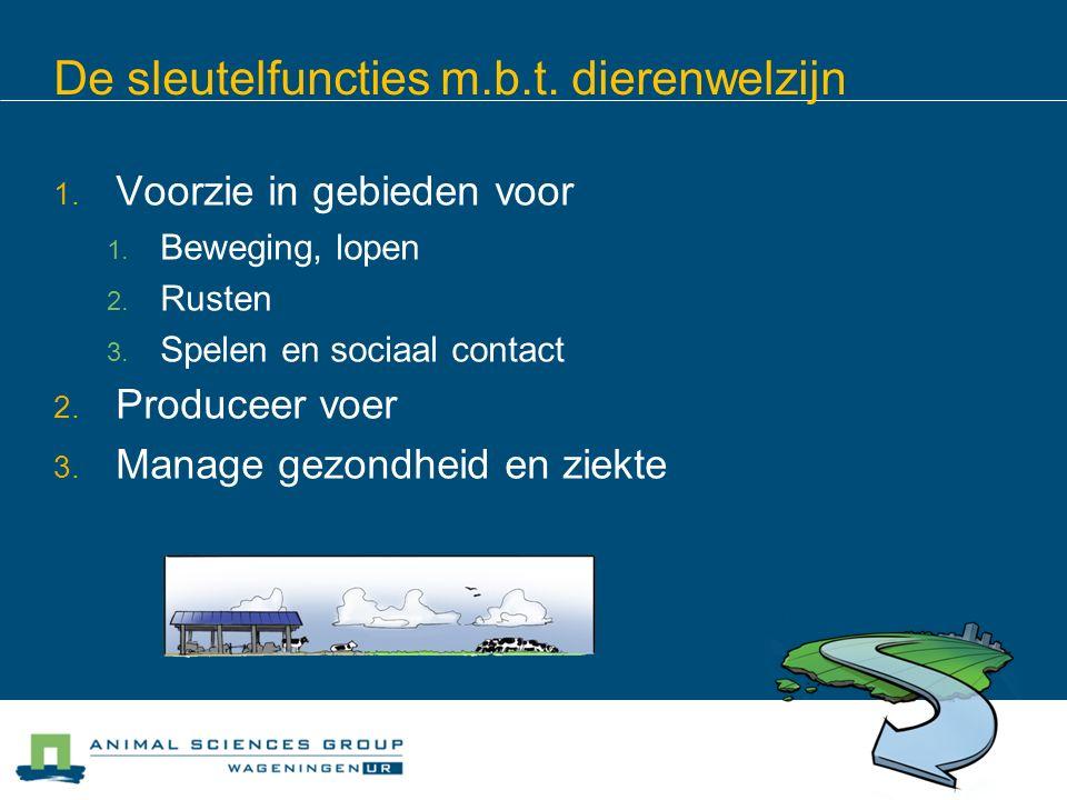 De sleutelfuncties m.b.t.dierenwelzijn 1. Voorzie in gebieden voor 1.