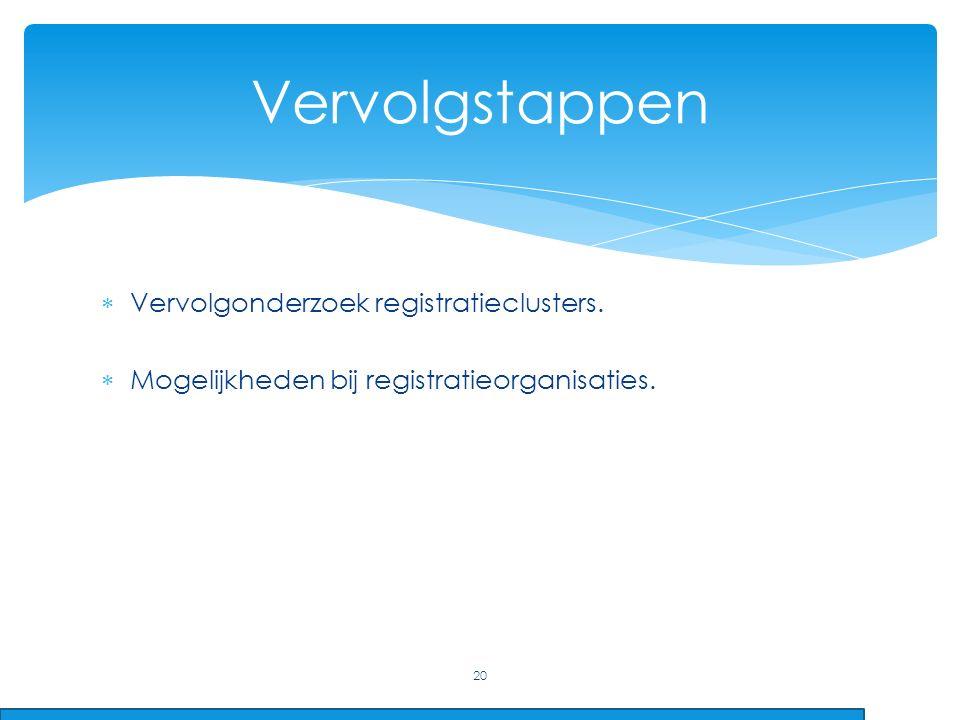  Vervolgonderzoek registratieclusters.  Mogelijkheden bij registratieorganisaties. 20 Vervolgstappen