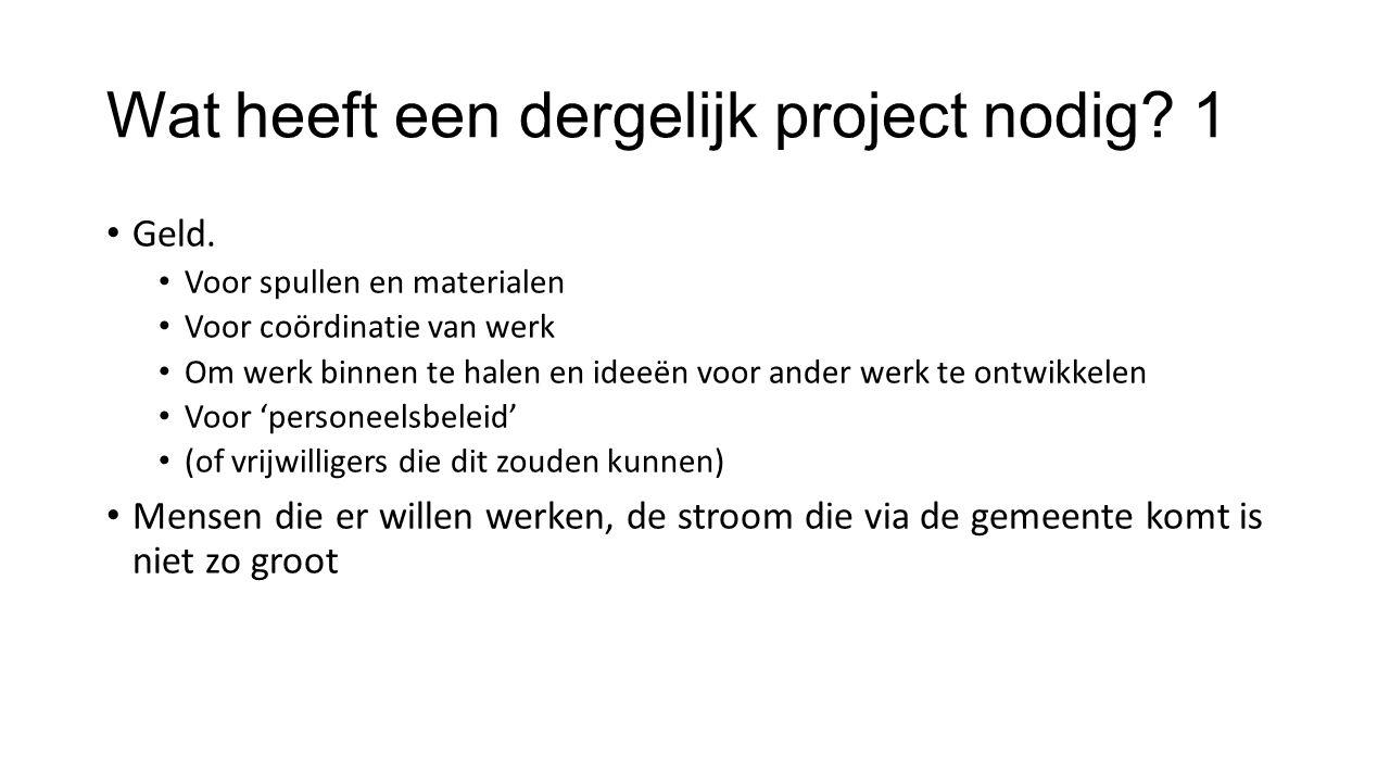 Wat heeft een dergelijk project nodig. 1 Geld.