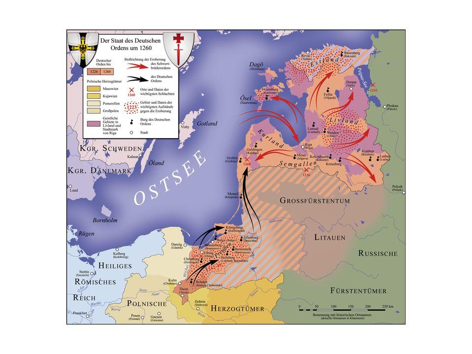 De Teutoonse of Duitse orde had zich in de 13 e eeuw meester gemaakt van de grond waar zij hun versterkte landhuizen bouwden.