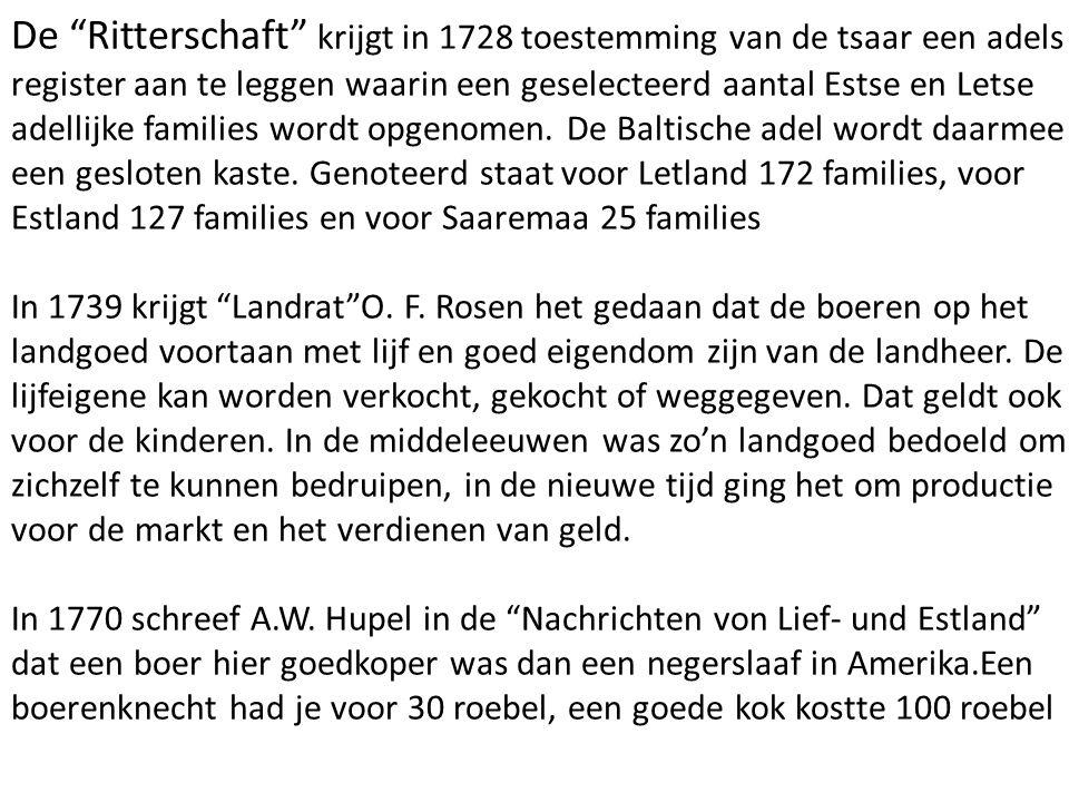 """De """"Ritterschaft"""" krijgt in 1728 toestemming van de tsaar een adels register aan te leggen waarin een geselecteerd aantal Estse en Letse adellijke fam"""