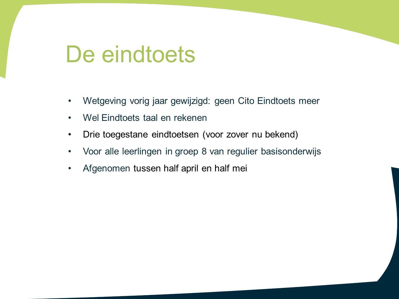Wetgeving vorig jaar gewijzigd: geen Cito Eindtoets meer Wel Eindtoets taal en rekenen Drie toegestane eindtoetsen (voor zover nu bekend) Voor alle le