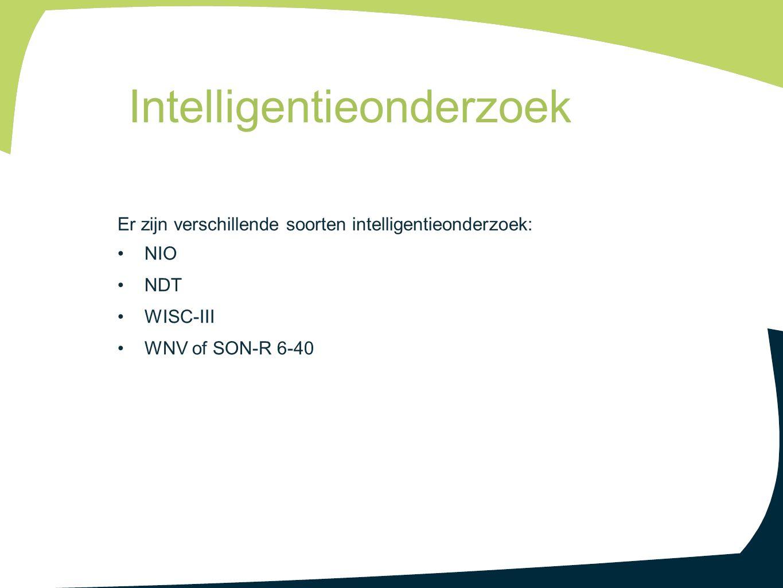 Er zijn verschillende soorten intelligentieonderzoek: NIO NDT WISC-III WNV of SON-R 6-40 Intelligentieonderzoek
