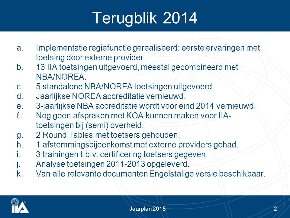 2 Terugblik 2014 a.Implementatie regiefunctie gerealiseerd: eerste ervaringen met toetsing door externe provider. b.13 IIA toetsingen uitgevoerd, mees