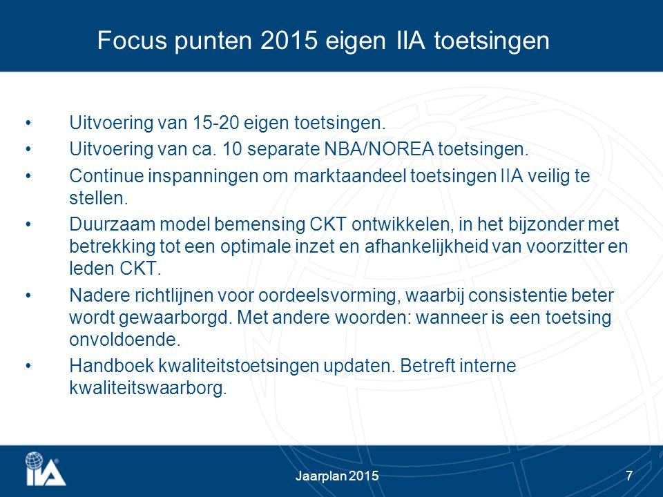 7 Focus punten 2015 eigen IIA toetsingen Uitvoering van 15-20 eigen toetsingen. Uitvoering van ca. 10 separate NBA/NOREA toetsingen. Continue inspanni